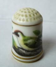 Picus Viridus Green Woodpecker Franklin Porcelain Thimble 1979 Bone Chin... - $18.32
