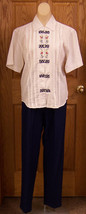 JANTZEN Womens Floral White Blouse & Daily Habit New York Navy Slacks Si... - $10.84