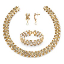 PalmBeach Jewelry Pearl and Crystal 3-Piece Set in Yellow Gold Tone - $29.99