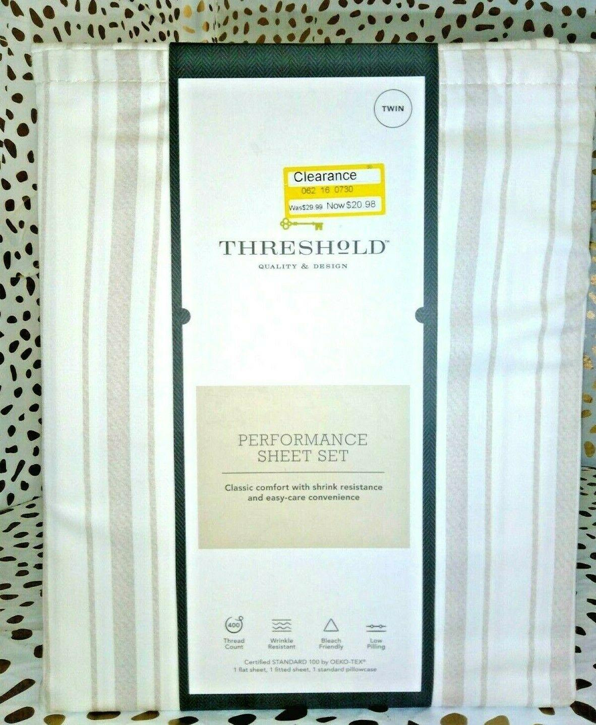 TWIN Sized 400 TC Striped Performance Sheet Set White Beige Threshold Sealed.