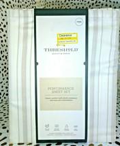 TWIN Sized 400 TC Striped Performance Sheet Set White Beige Threshold Sealed. image 1