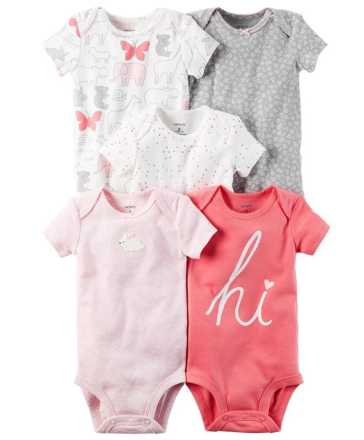 Carter's Baby Girl 5-pk.Pink Graphic Short Sleeve Bodysuits New Born - 24 M