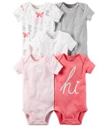 Carter's Baby Girl 5-pk.Pink Graphic Short Sleeve Bodysuits New Born - 24 M - $17.99