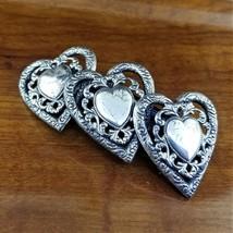 1980's Silver Western Filigree TRIPLE HEARTS Hair Barrette Made in France  - $39.95
