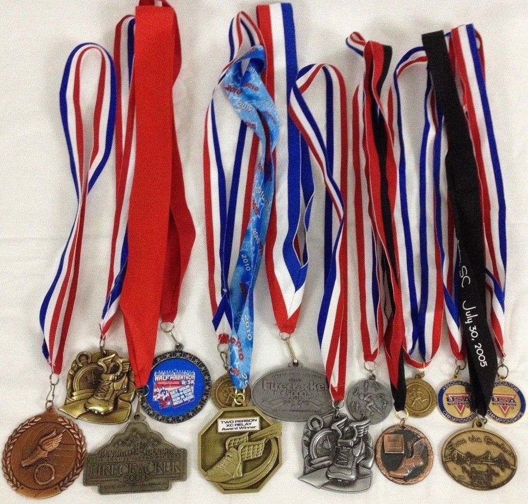 Lot of 14 Running Race Medals Medallions Awards From Various Events