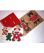 Christmas Bears Fabric Panels Cut OutsTeddy Bear Beary Picture Book Patches - $26.68