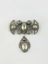 Vintage brooch pin silver tone abstract statement piece  - $20.17