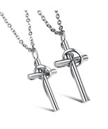 Stainless Steel Couples Rings Matching Set Cross Pendant Necklace - £17.50 GBP
