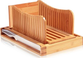 Premium Bamboo Bread Slicer with Knife - Cutting Guide for Homemade Brea... - $40.67