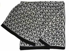 Michael Kors MK Logo Knit Beanie Hat and Scarf Set, Black Gray - $57.42