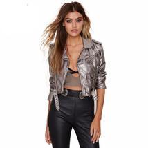 Silver Gray Faux Leather Women Short Punk Jackets - $54.98