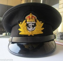 ROYAL UK NAVY OFFICERS HAT CAP BLACK NEW KING CROWN BADGE MOST SIZES HI ... - $84.00