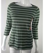 Merona Womens Small 3/4 Sleeve Boatneck Tee Shirt Green Cream Striped NWT - $14.99