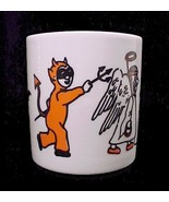 Porcelain China Halloween Coffee Mug Cup Ghost Bats Devil Black Cat Scar... - $9.95