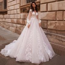 Sexy Long Sleeve Scoop V Neck Backless A-Line Luxury Wedding Gown With Beaded Ap image 3