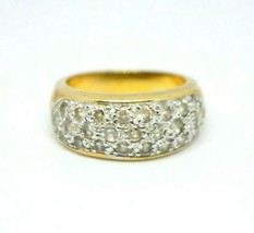 Clear Glass Pave Rhinestone Statement Band Gold Tone Ring Size 8.25 - $24.74