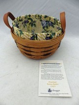 Longaberger - 1994 Heartland Button basket w/protector & liner & ID card... - $12.38