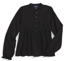 Ralph Lauren Cotton Dobby Pleated Shirt  Girl's Black size 14 - $24.75