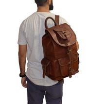 """New 20"""" Men Vintage Soft Leather Backpack Shoulder Messenger Rucksack Bag  - $57.06+"""