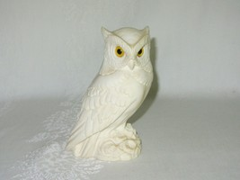 Vintage White Alabaster Horned Owl Bird Figurine Made in Italy A Giannel... - $24.74