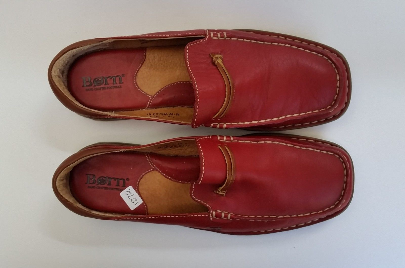 Born Shoes Mules Slides Flats Red Hand Crafted Leather Womens Size 7.5 M EU 38.5