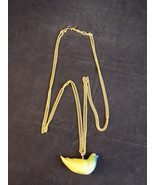 """18"""" long KENNETH LANE NECKLACE gold tone link chain with blue green dove... - $22.43"""