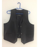 American Designers leather Vest with Pockets size XL color Black - $69.99