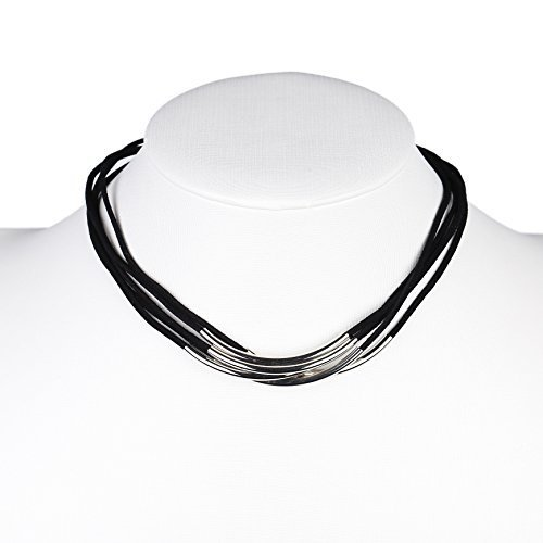 Primary image for UE- Multi Strand Silver Tone Jet Black Faux Suede Designer Choker Necklace