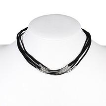 UE- Multi Strand Silver Tone Jet Black Faux Suede Designer Choker Necklace  - $15.99