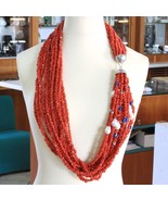 AMAZING 925 STERLING SILVER LONG STRAND NECKLACE NATURAL RED CORAL KYANITE PEARL - $1,605.50