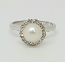 14k White Gold Genuine Round Diamond and Pearl ... - $441.00
