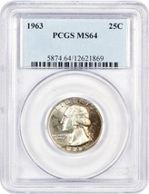 1963 25c PCGS MS64 - Washington Quarter - $24.25