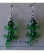 Hand Blown Glass Gecko Earrings Handcrafted Fort Bragg CA USA New Pierced   - $24.99