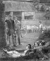 FARMYARD Laborers Return from Work Guests Sleep in Barn - 1875 Antique P... - $13.49