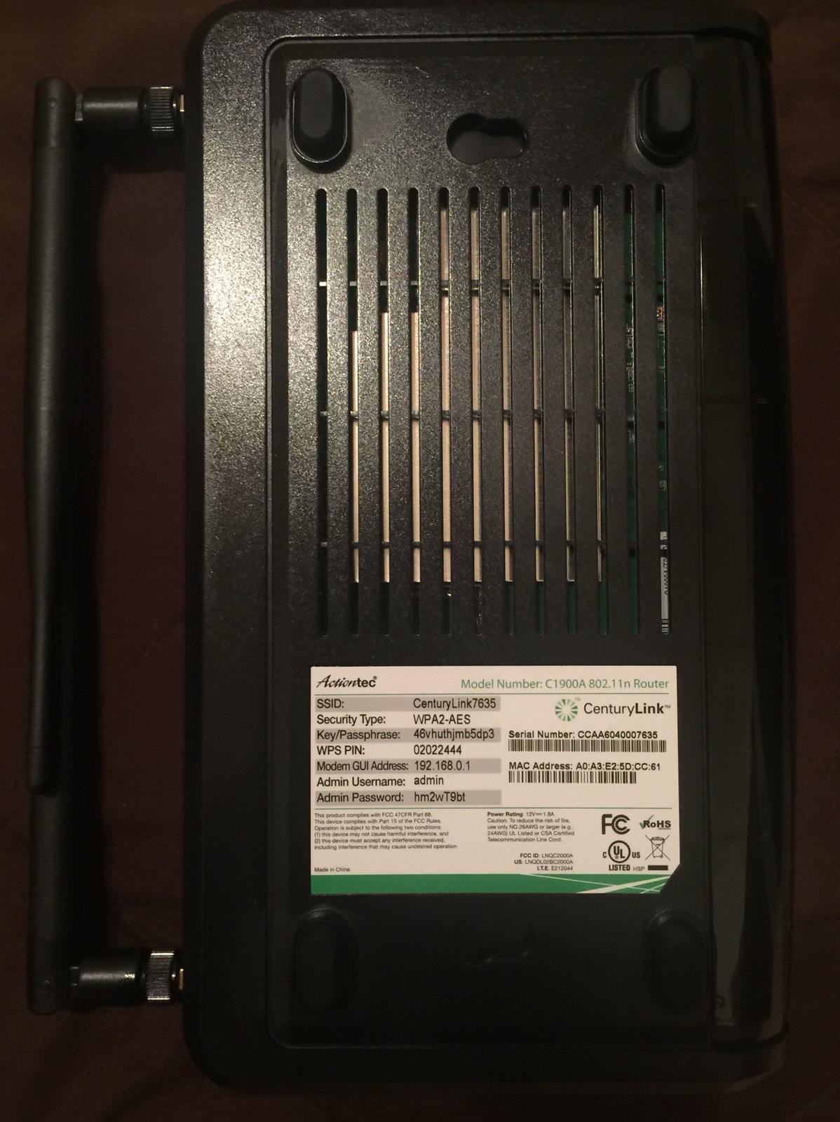 CenturyLink Actiontec C1900A DSL VDSL2 IPTV and 50 similar items
