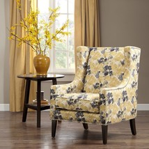 Wingback Chair Modern Floral Removable Cushion Seat Nailhead Upholstery ... - $461.34