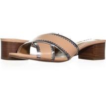 Coach Murielle Cross Strap Sandals 266, Beechwood/Silver, 8.5 US / 38.5 EU - $45.11