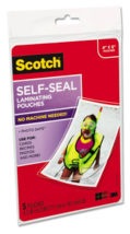 "New Lot of 2 x 5 Scotch 3M Self-Sealing Laminating Pouches 4"" x 6"" PLG00G image 2"