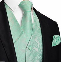 Mint Aqua Green 20-HH Paisley Tuxedo Suit Dress Vest Waistcoat & Neck ti... - $22.75+
