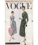 "Vintage Vogue 9063 One Piece Dress Date 1957 Bust 36"" Hips 38"" - $30.00"