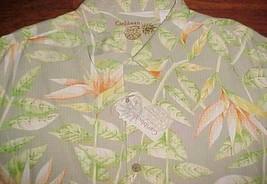 Caribbean Washable 100% Silk Men Green Orange Plants Hawaiian Camp Shirt... - $39.59