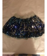 Girl's Size 8 Justice Royal Blue Silver Fully Sequined Mini Skirt Skort EUC - $22.00