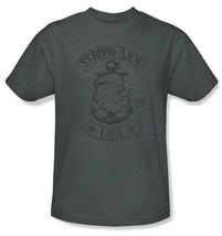 Popeye T-shirt USA retro classic cartoon vintage 100% cotton grey tee pye725 image 1
