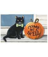 Halloween Black cat Pumpkin Door Mat Rubber 18 x 30  - $38.00