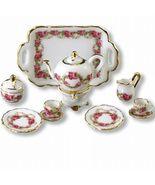 DOLLHOUSE Tea/2 Roseband 1.345/8 Reutter Porcelain pink white Miniature - $35.72