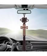 Hollow Cross Tassel Car Rearview Mirror Hanging Ornaments Auto Interior ... - $8.86