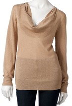 Dana Buchman Gold Metallic Lurex Cowlneck Sweater Blouse Top - $29.99
