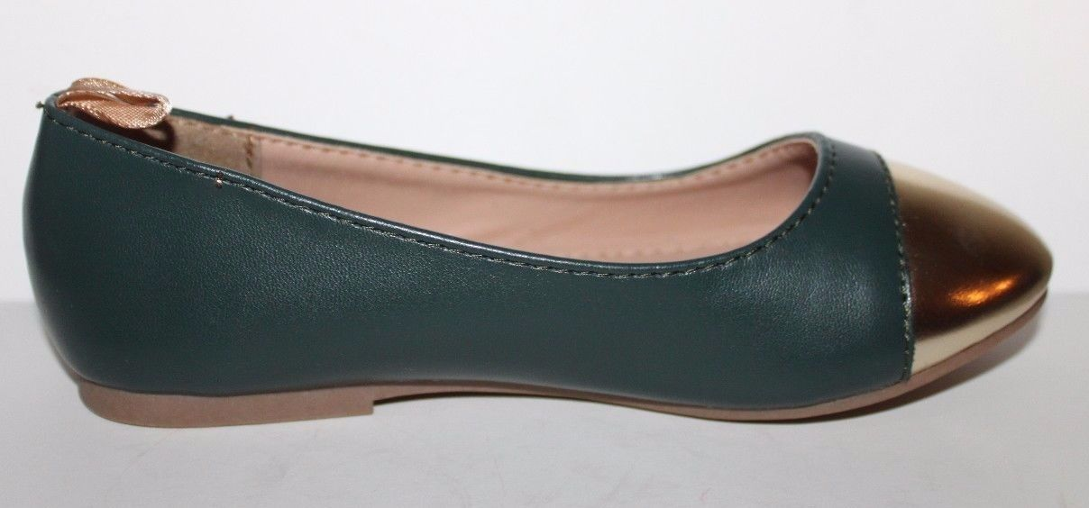 Gap Kids NWOB Girls Green Faux Leather Ballet Flats w/ Gold Toe image 9