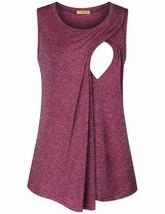 Baikea Womens Sleeveless Breastfeeding Shirts Asymmetrical Nursing Tank ... - $22.99+