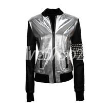 New Women Unique Black Silver Shiny Silver Studded Skull Biker Leather J... - $249.99